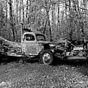 An Old Logging Boom Truck In Black And White Poster