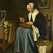 An Old Woman Seated Sewing Poster