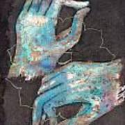 Anahata - Heart 'blue Hand' Chakra Mudra Poster