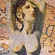 Ancient Middle East Map And Aphrodite Poster