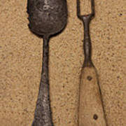 Ancient Spoon And Fork  Poster