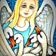 Angel Sheltering Seven Swans Poster