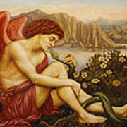 Angel With Serpent Poster by Evelyn De Morgan