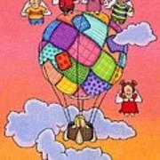 Angels With Hot Air Balloon Poster by Sarah Batalka