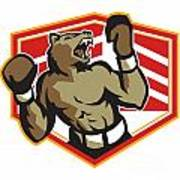 Angry Bear Boxer Boxing Retro Poster