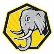 Angry Elephant Head Side Cartoon Poster