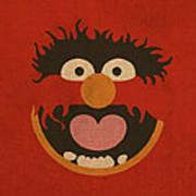 Animal Muppet Vintage Minimalistic Illustration On Worn Distressed Canvas Series No 008 Poster