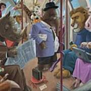 Animals On A Tube Train Subway Commute To Work Poster