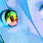 Anime Girl Eyes Blue Poster