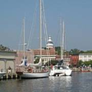 Annapolis Harbor Alongside Dock Street Poster