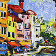 Annecy France Canal And Bistros Impressionism Knife Oil Painting Poster