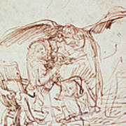 Annunciation  Poster by Rembrandt Harmenszoon van Rijn