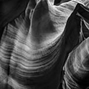 Antelope Canyon Waves Black And White Poster
