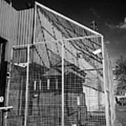 anti rpg cage surrounding observation sanger at North Queen Street PSNI police station Belfast North Poster by Joe Fox