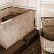 Antiquated Bathtub Washboard And Laundry Tub In Sepia Poster
