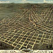 Antique Bird's-eye View Map Of Atlanta 1871 Poster