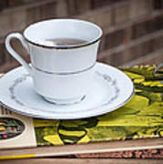 Antique Books And Tea Poster