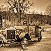 Antique Car At Service Station In Sepia Poster