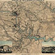 Antique Civil War Map Of Richmond And Petersburg Virginia By William C. Hughes - Circa 1864 Poster