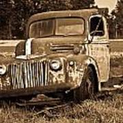 Antique Cut Bed Truck In Sepia Poster