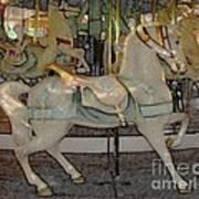 Antique Dentzel Menagerie Carousel Horse Colored Pencil Effect Poster
