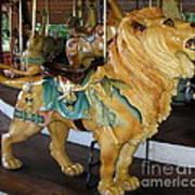 Antique Dentzel Menagerie Carousel Lion Poster by Rose Santuci-Sofranko