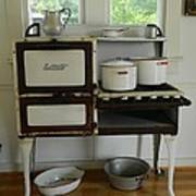 Antique Estate Stove With Cookware Poster