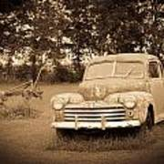 Antique Ford Car Sepia 2 Poster