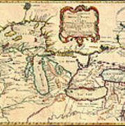 Antique French Map Of The Great Lakes 1755 Poster
