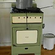 Antique Green Stove And Pressure Cooker Poster