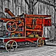 Antique Hay Baler Selective Color Poster