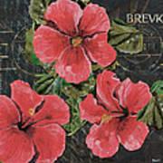 Antique Hibiscus Black 3 Poster