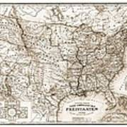 Antique Map 1853 United States Of America Poster by Dan Sproul