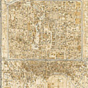 Antique Map Of Beijing China - 1938 Poster by Blue Monocle