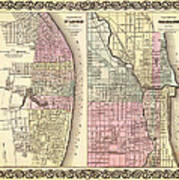 Antique Map Of Chicago And St Louis 1855 Poster