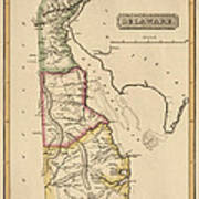 Antique Map Of Delaware By Fielding Lucas - Circa 1817 Poster