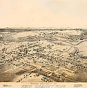 Antique Map Of New Braunfels Texas 1881 Poster