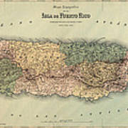Antique Map Of Puerto Rico - 1886 Poster