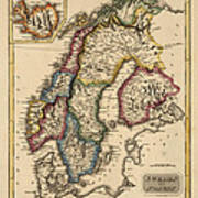 Antique Map Of Scandinavia By Fielding Lucas - Circa 1817 Poster by Blue Monocle