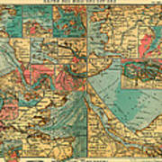 Antique Map Of The Baltic And North Sea Ports  Poster