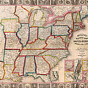 Antique Map Of The United States 1848 Poster