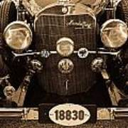 Antique Mercedes Benz In Sepia Poster