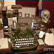 Antique Oliver Typewriter On Old West Physician Desk Poster by Janice Rae Pariza