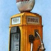 Antique Shell Gas Pump Poster