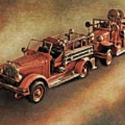 Antique Toy Fire Trucks Poster