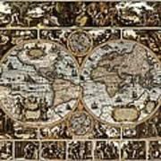 Antique World Map Circa 1670 II Poster
