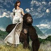 Ape And Girl Poster