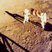 Apollo 11 Photo Showing Placing Of Us Flag On Moon Poster