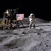 Apollo 16 Lunar Landing Astronaut Young Poster