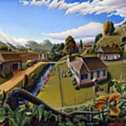 Appalachia Summer Farming Landscape - Appalachian Country Farm Life Scene - Rural Americana Poster